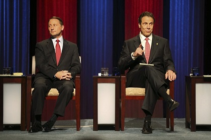 New York gubernatorial Republican candidate Astorino and New York Governor and Democratic candidate Cuomo during a debate at WNED studios in Buffalo